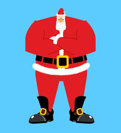 Santa Claus crossed hand. Serious Santa isolated. Christmas and New Year grandfather  Illustration