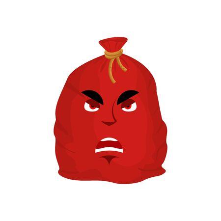 Santa bag angry emotion. Red Christmas sack with gift Emoji. sackful of gifts isolated  Illustration