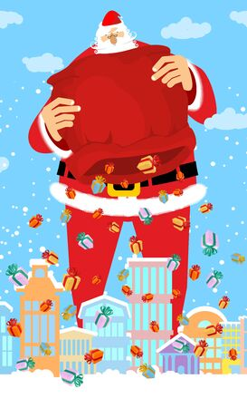 down town: Santa Claus and bag rain gifts in city. Christmas in town. Snow and buildings. High Santa and big red sack walking down street. New Year card. Xmas template design