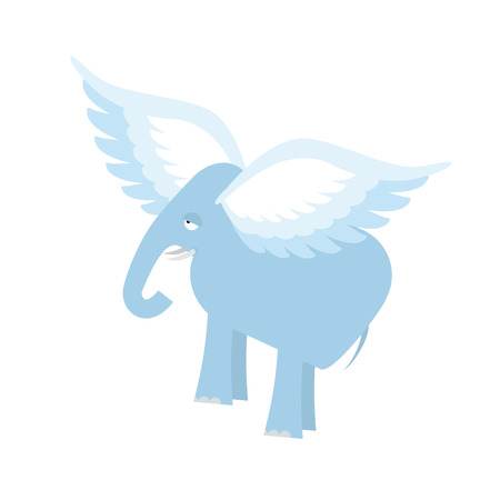invincible: Flying Elephant. Fantastic animal. Elephant with wings isolated.