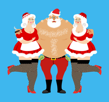 Santa Claus and sexy girls. Entertainment for adults. Strippers hugging man with money. Bad Santa and prostitutes. Merry Christmas. Adult New Year