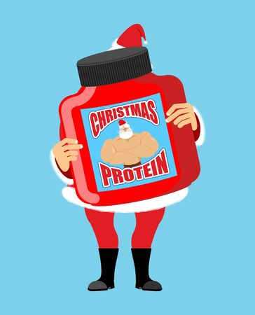 Christmas protein. Sports nutrition as a gift for holiday. Strong Santa Claus recommends. Illustration New Year Fitness