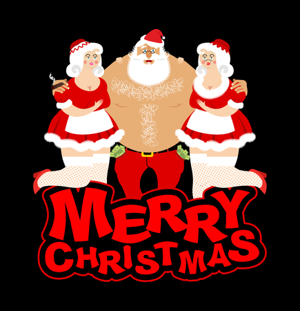Santa Claus and prostitutes. Drunk grandfather and two sexy girls. Entertainment for adults. Strippers hugging man with money. Santa and whores. Merry Christmas. Adult New Year