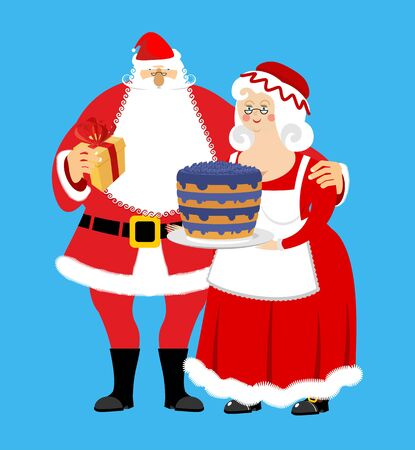 Santa and Mrs. Claus isolated. Christmas family. Woman in red dress and white apron. Cheerful elderly. New Year menage.   Illustration