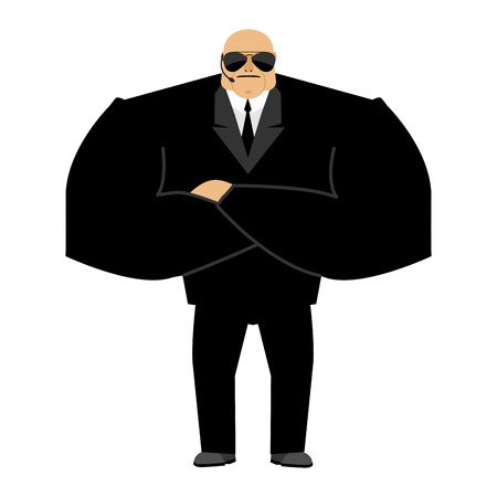 muscular control: Bodyguard isolated. Security guard face control of nightclub. Black suit and hands-free. protection person on white background