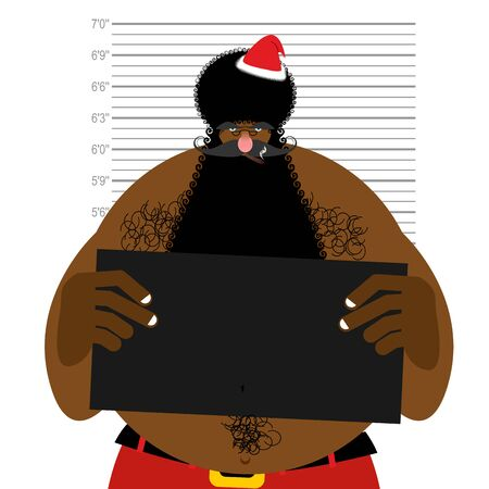 obnoxious: African American Santa at police station. Mugshot Black Santa gangster. Afro hairstyle and red Christmas hat.  Illustration