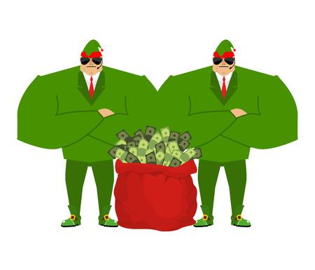 santa helper: Santa elf and red bag full money. Claus bodyguards. Christmas guards. Protecting Red sack with cash. Defenders of dollars. santas helper Illustration