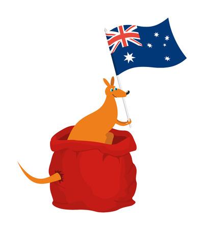 Santa bag and kangaroo with Australia flag. Australian animal. Beast patriot. New Year and Christmas.   Illustration
