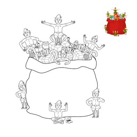 Santa Bag And Elf Coloring Book. Christmas Sack And Elves Line ...