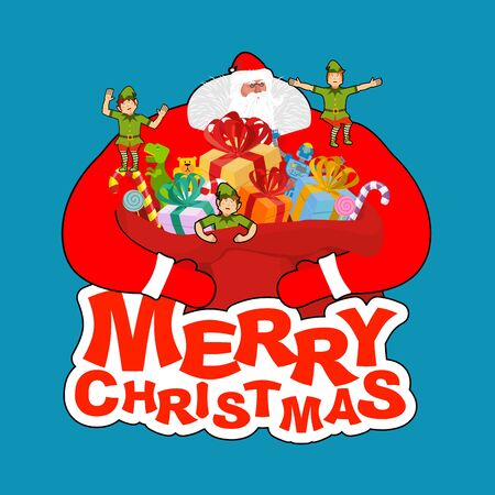 Merry Christmas. Santa Claus and bag and elf helper. New Year big red sack with gifts. Xmas template.   Illustration