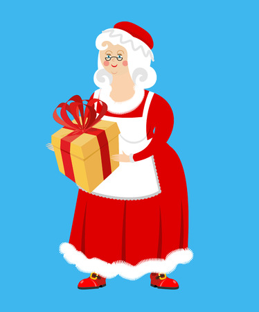 Mrs. Claus and gift. Wife of Santa Claus and box. Christmas woman in red dress and white apron. Xmas feale