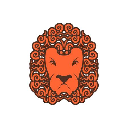 royal safari: Lion tattoo. Mane ornament. Leo tattooing. wild animal