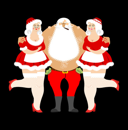 Bad Santa Claus and sexy girls. Entertainment for adults. Strippers hugging man with money. evil Santa and prostitutes. Merry Christmas. Adult New Year Illustration