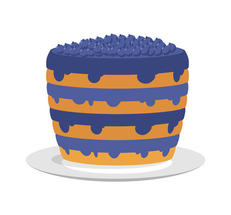 blueberry cheesecake: Blueberry pie isolated. Large berry cake on plate. Jam bilberry Illustration