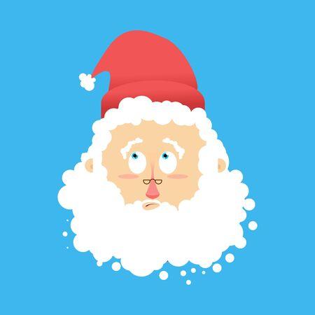 Père surpris Emoj. Les avatars de l'émotion de Noël. Le Père Noël émerveillent Vecteurs