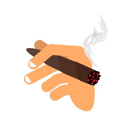 시가 격리와 손입니다. 남자 손 들고 담배 연기입니다. 손가락과 하바나 일러스트
