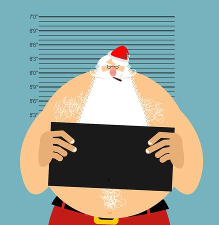 incarcerated: Mugshot Santa in police. Bad Claus criminal. Naughty Santa with cigar. crime Christmas. suspect new year