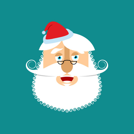 Santa Claus laugh Emoji. Cheerful Santa face grandfather with beard and mustache isolated. Christmas avatars
