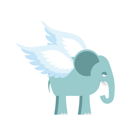 invincible: Elephant with wings. Fantastic animal. Flying Elephant isolated.