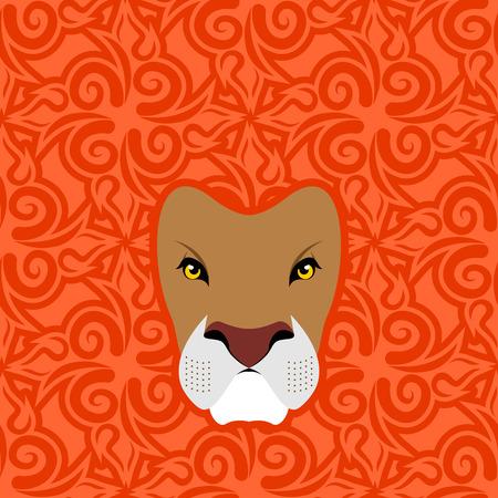 mane: Lion Abstract emblem. Mane Oriental ornament. wild animal Illustration