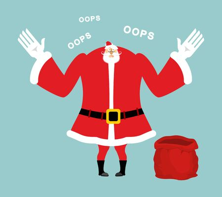 Santa empty red bag. Gifts ended. Santa Claus sorry speaks oops. Christmas surprised emotion
