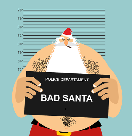 Mugshot Santa in police. Bad Claus criminal. Naughty Santa with cigar. crime Christmas. suspect new year