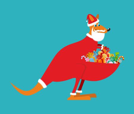 roo: Australian Kangaroo Santa. Wallaby in Christmas cap. Gifts in bag. Santa Claus Australia. Marsupials bears gifts in pouch