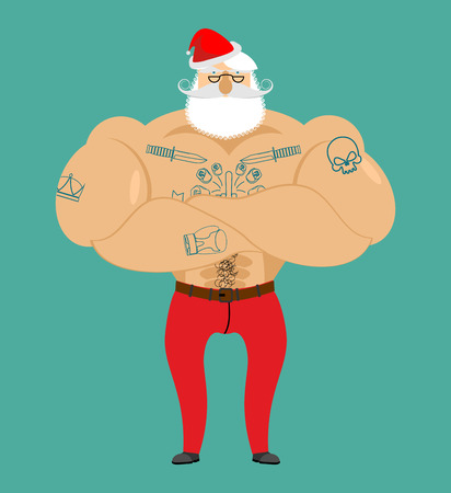 Santa Claus hipster with tattoos. Strong Santa with beard and mustache. Christmas and New Year illustration