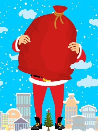 carry bag: Santa Claus in city carry bag of gifts. Christmas in town. Snow and buildings. High Santa and big red sack walking down street. New Year card. Xmas template design  Illustration