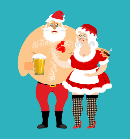 mrs  santa claus: Bad Santa and Mrs. Claus isolated. drunk Christmas family. Woman in red dress and white apron. Cheerful elderly. New Year menage. Mug Beer and cigarette