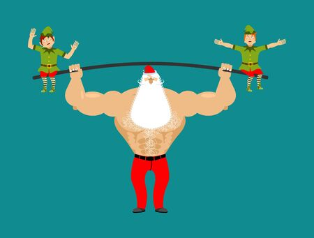 Strong Santa lift barbell with elves. powerlifting elf gravity. Sports Merry Christmas. Claus bodybuilder  Illustration