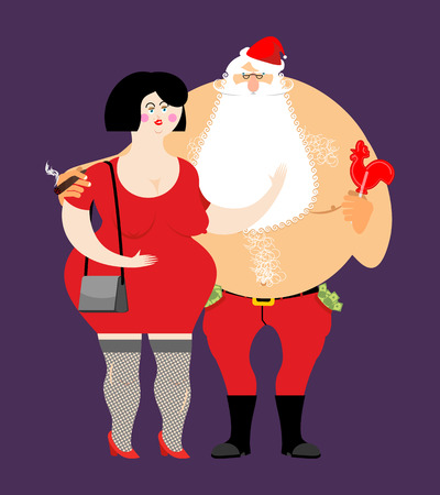 Bad Santa with beer and cigar. Santa Claus and prostitutes. Drunk grandfather and sexy girl. money in pocket. drink away earnings. Christmas bully and whores. New Year celebration