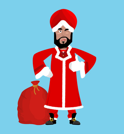 religious event: Santa India. Christmas Indian Claus. Red Turban fur. East Grandpa New Year Illustration