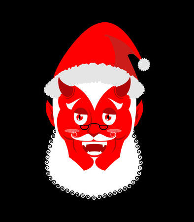 sins: Krampus Satan Santa. Claus red demon with horns. Christmas monster for bad children and bullies. folklore evil. Devil with beard and mustache.