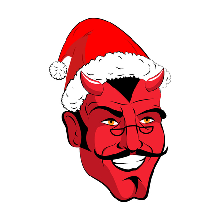 Satan Santa Krampus. Claus red demon with horns. Christmas monster for bad children and bullies. folklore evil. Devil with beard and mustache.