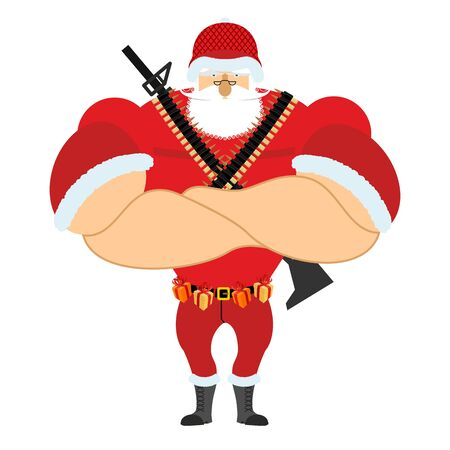 Santa Soldier veteran with ammunition. Army Claus. Christmas War. Defender of new year. Grandfather with beard and mustache. Xmas trooper. Red soldiers helmet and machine gun Illustration