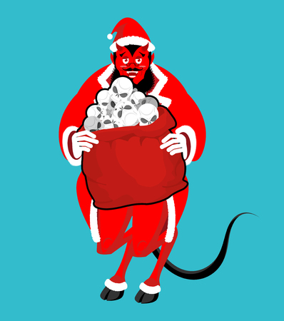 bullies: Krampus Satan Santa. Claus red demon with horns. Christmas monster for bad children and bullies. folklore evil. Devil with beard and mustache. skull bag for harmful kids.  Illustration
