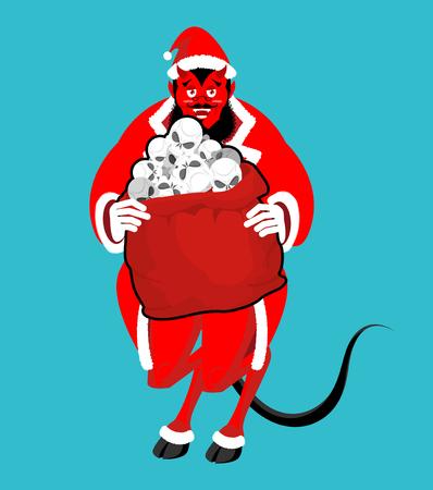 Krampus Satan Santa. Claus red demon with horns. Christmas monster for bad children and bullies. folklore evil. Devil with beard and mustache. skull bag for harmful kids.  Illustration