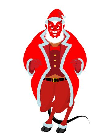 Krampus Satan Santa. Claus red demon with horns. Christmas monster for bad children and bullies. folklore evil. Devil with beard and mustache. Illustration