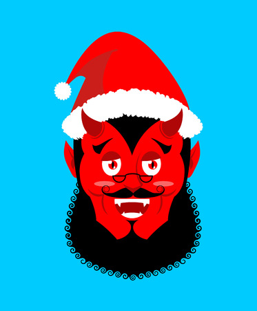 shackles: Satan Santa Krampus. Claus red demon with horns. Christmas monster for bad children and bullies. folklore evil. Devil with beard and mustache.