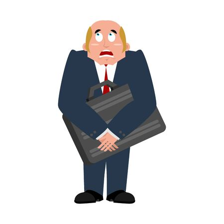 fearing: Businessman case and fear. dread of boss for money. Fearing for cash. Man and suitcase with dollar