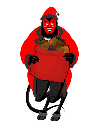 Satan Santa Krampus. Christmas monster for bad children and bullies. Claus red demon with horns. folklore evil. Devil with beard and mustache. shit bag for harmful kids.