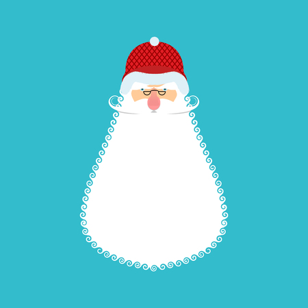 Santa Soldier face. Army Claus head. Christmas War. Defender of new year. Grandfather with beard and mustache. Xmas veteran trooper. Red soldiers helmet