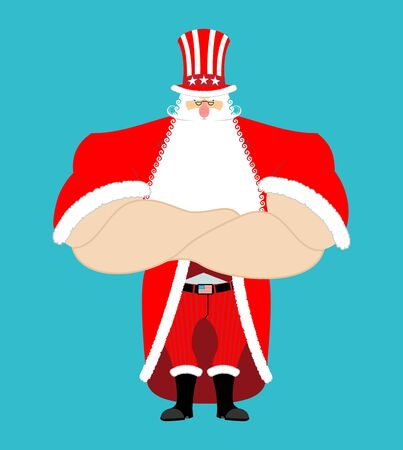Santa Uncle Sam. American Christmas Claus. Winter cylinder. Patriotic grandfather white beard. US National new year hero
