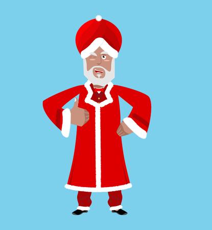 turban: Santa India. Christmas Indian Claus. Red Turban fur. East Grandpa New Year Illustration
