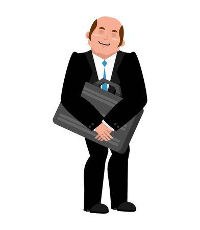 pleasure: Joyful businessman hugs suitcase with money. Boss and case with cash. Business Pleasure