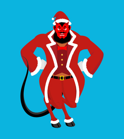 Krampus Satan Santa. Claus red demon with horns. Christmas monster for bad children and bullies. folklore evil. Devil with beard and mustache.