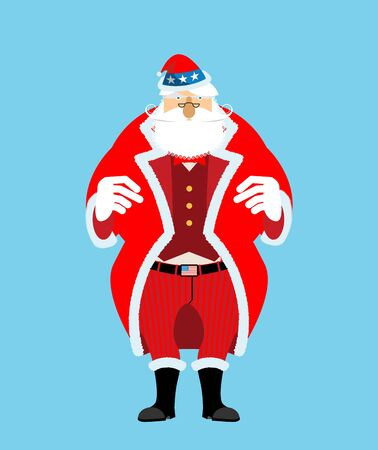 Santa Uncle Sam. American Christmas Claus. Patriotic grandfather white beard. US National new year hero