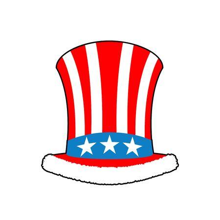 fur cap: Patriotic Santa Claus cap. Winter Hat Uncle Sam. Christmas Cylinder hat and fur.