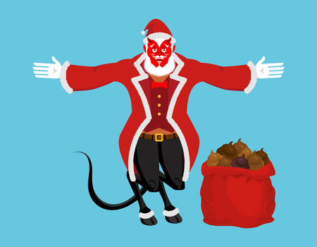 Krampus Satan Santa. Claus red demon with horns. Christmas monster for bad children and bullies. folklore evil. Devil with beard and mustache. shit bag for harmful kids. Illustration